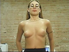 Hot blonde with glasses shows off her perfect pussy and ass, plays with vibrator