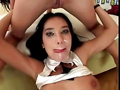 Anal creampie eating