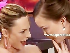 Babes on chair have lesbian sex swallowing and eating the pink pu