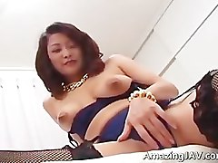 Busty japanese girl in lingerie sucking part1