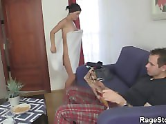 brutal blowjob and rough sex after shower
