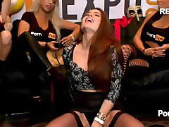 3 sybian rides in the pornhub booth at avn 2015. veronica vain, others.