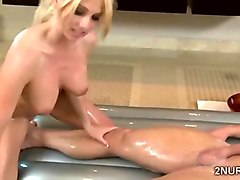 beatiful blonde masseuse with hot boobs devours big hard meat