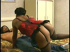 ebony mature in lingerie gets her pussy pounded
