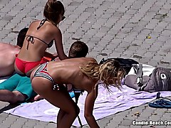 topless girls beach voyeur video