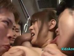 Busty Asian Girl Getting Her Nipples Sucked Pussy Fingered Fucked With Toys By Guys On The Bus