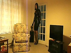 patsypvc in a very tight rubber latex dress & high heels
