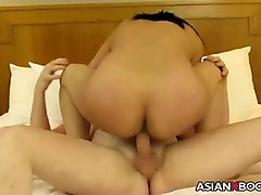 asian milf takes creampie pov