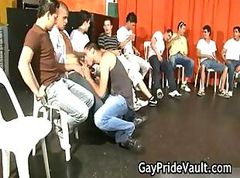 Indoor gay gangbang fuck fest part2