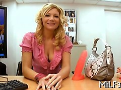 milf blonde getting nailed doggy style in an office casting session