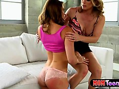 stepmom milf disciplines teen with a spank and a dildo