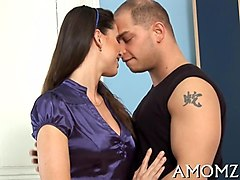 glam mom gets stripped down to lingerie for hot blowjob
