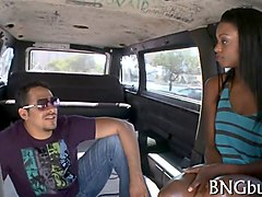hot black chick sucking dick and screwing in bang bus