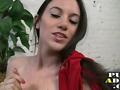 sexy brunette gives a handjob