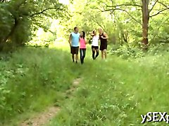 two teens go into the woods for a hot foursome