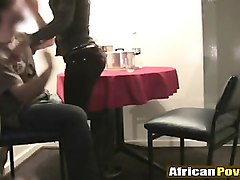sexy african girl sucks white dick after