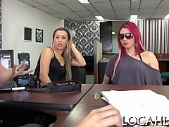 redhead loca gets her pussy fucked on an office floor