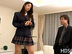 asian school girl gets down on cock