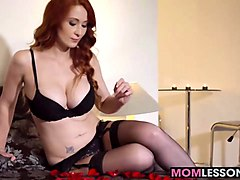 lucky guy bangs a hot blonde daughter and a redhead stepmom