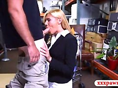 sexy blonde milf gets fucked by horny pawn man for money