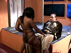 sensual ebony girl with big boobs offers a black stud a great blowjob