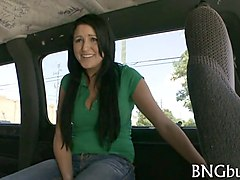 brunette with great boobs banging in bang bus backseat