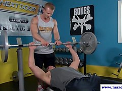 facefucked straight jock buttfucked in gym
