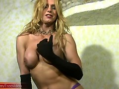 charming tranny in thongs puts ice cream all over her body