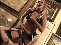 girls in collars and stockings have kinky lesbo sex