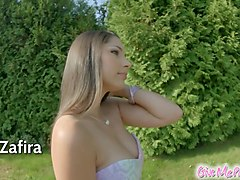 Givemepink Zafira uses toys on her sexy xxl pussy lips