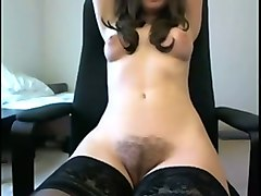 wonderful buxom amateur cam girl in stockings rubbed her wet pussy