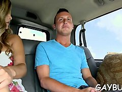two gorgeous gay dudes are ready for anal sex in the car