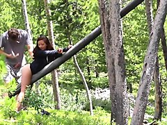 cute asian mom gets banged in the forest
