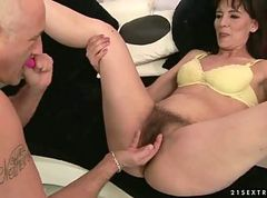 Hairy mature brunette getting fucked hard
