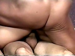wild blonde whore getting double penetrated hard in threesome bang