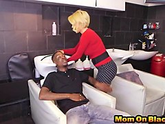 mature blonde hairdresser bouncing tits as she rides double bbc