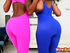 two ebony cuties peyton rain and ava sanchez like to share white dude in threesome