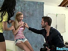 teen babe banged by mature couple