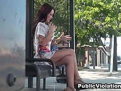 stunning busty brunette at the bus stop spied on cam