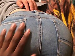 Thick Asian college girl with soft bubble butt groped in jeans