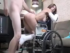 Fractured slut gets fucked on wheel chair by horny guy