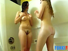 these hot lesbians with nice looking bums love showering together