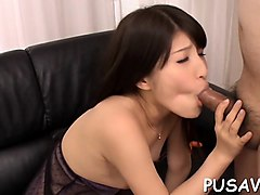slutty asian gets gang banged while sucking big dick