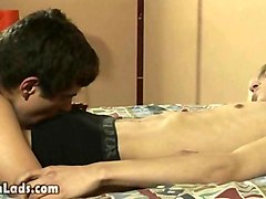 couple of young twink lovers messing on the bed