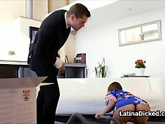 latina wife blows vacuum salesman
