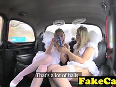 horny angels get fucked in a threesome in a taxi