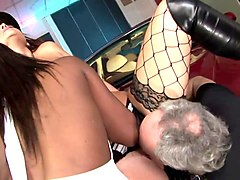 hot ebony and slutty brunette share old mans dick on the couch