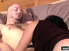 stunning shemale fucks her male partner in his anus in bed