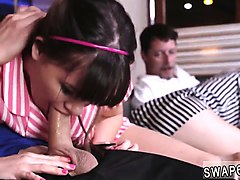 redhead duddy's daughter learns anal from dad and mom teache