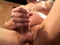 Jerk off and cum with spit as lube